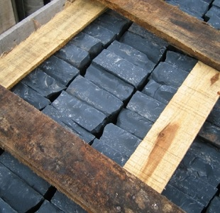 Black limestone cobbles pack