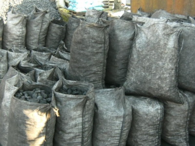 Coal sacks ready for delivery