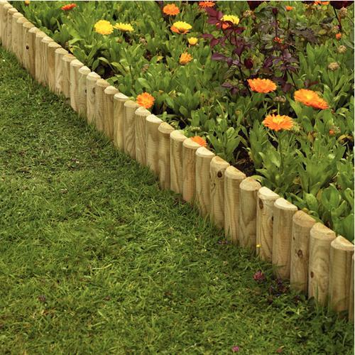 Wooden log roll morgan supplies gloucester for Wooden flower bed borders